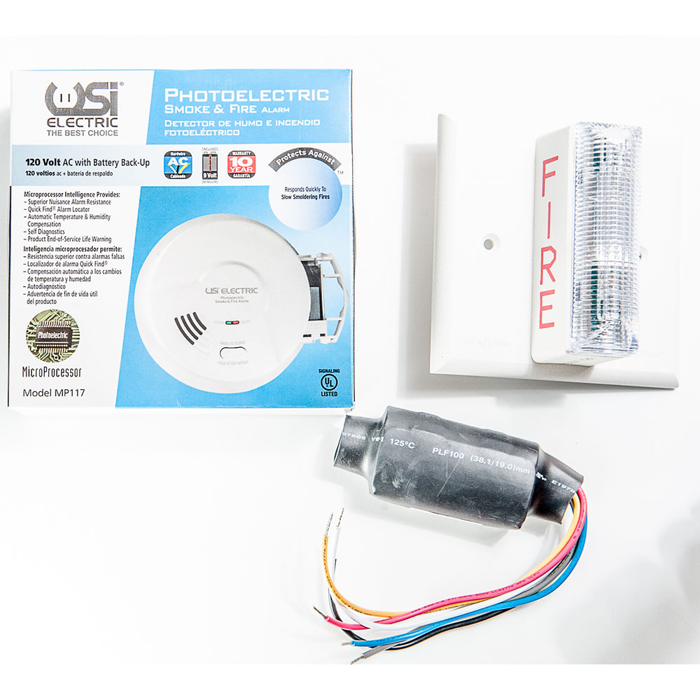 USI Electric 2417 Hardwired Photoelectric Smoke Alarm & Strobe Kit for Hearing Impaired