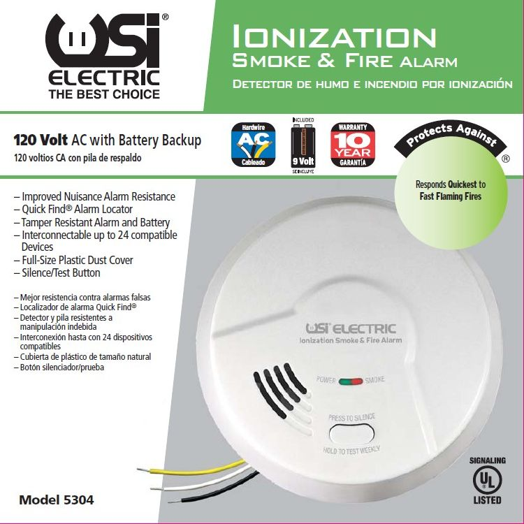 USI Electric 5304L Hardwired Ionization Smoke and Fire Alarm with Battery Backup