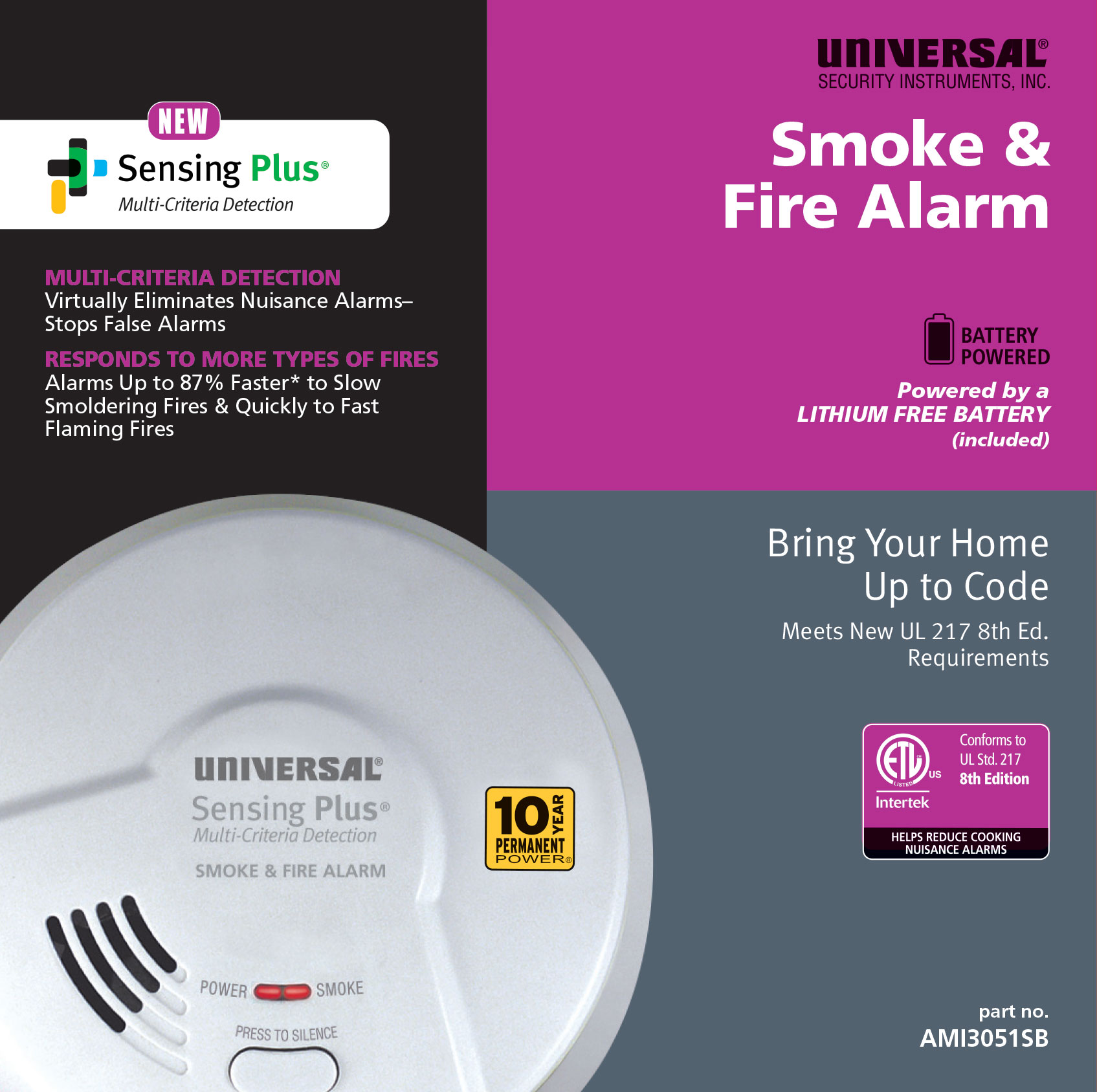 Sensing Plus AMI3051SB Multi Criteria Smoke & Fire Alarm With 10 Year Tamper Proof Sealed Battery