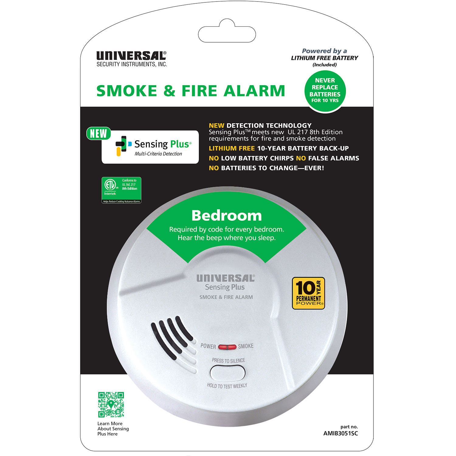 Sensing Plus AMIB3051SC Multi Criteria Bedroom Smoke & Fire Alarm With 10 Year Tamper Proof Sealed Battery
