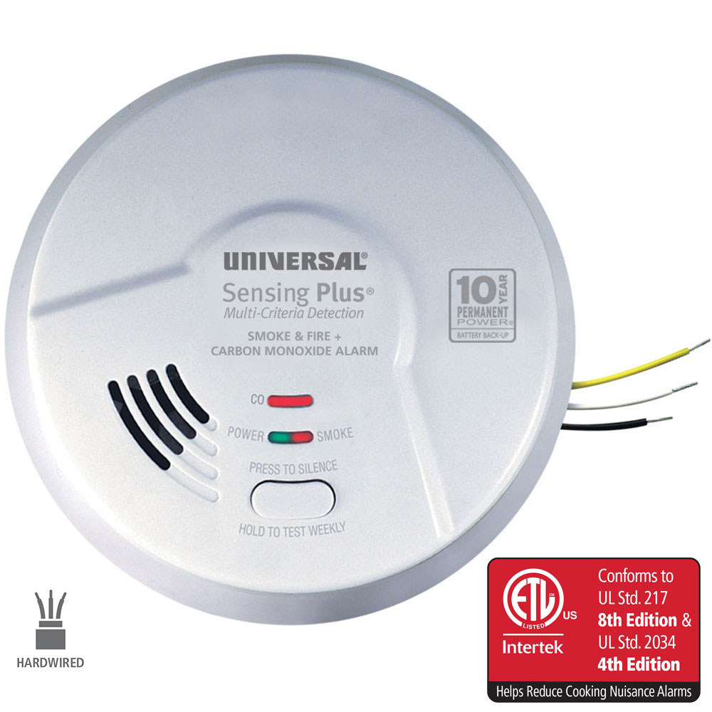 Sensing Plus AMIC1510SB Multi Criteria Hardwired Combo Smoke, Fire & Carbon Monoxide Alarm With 10 Year Battery Backup
