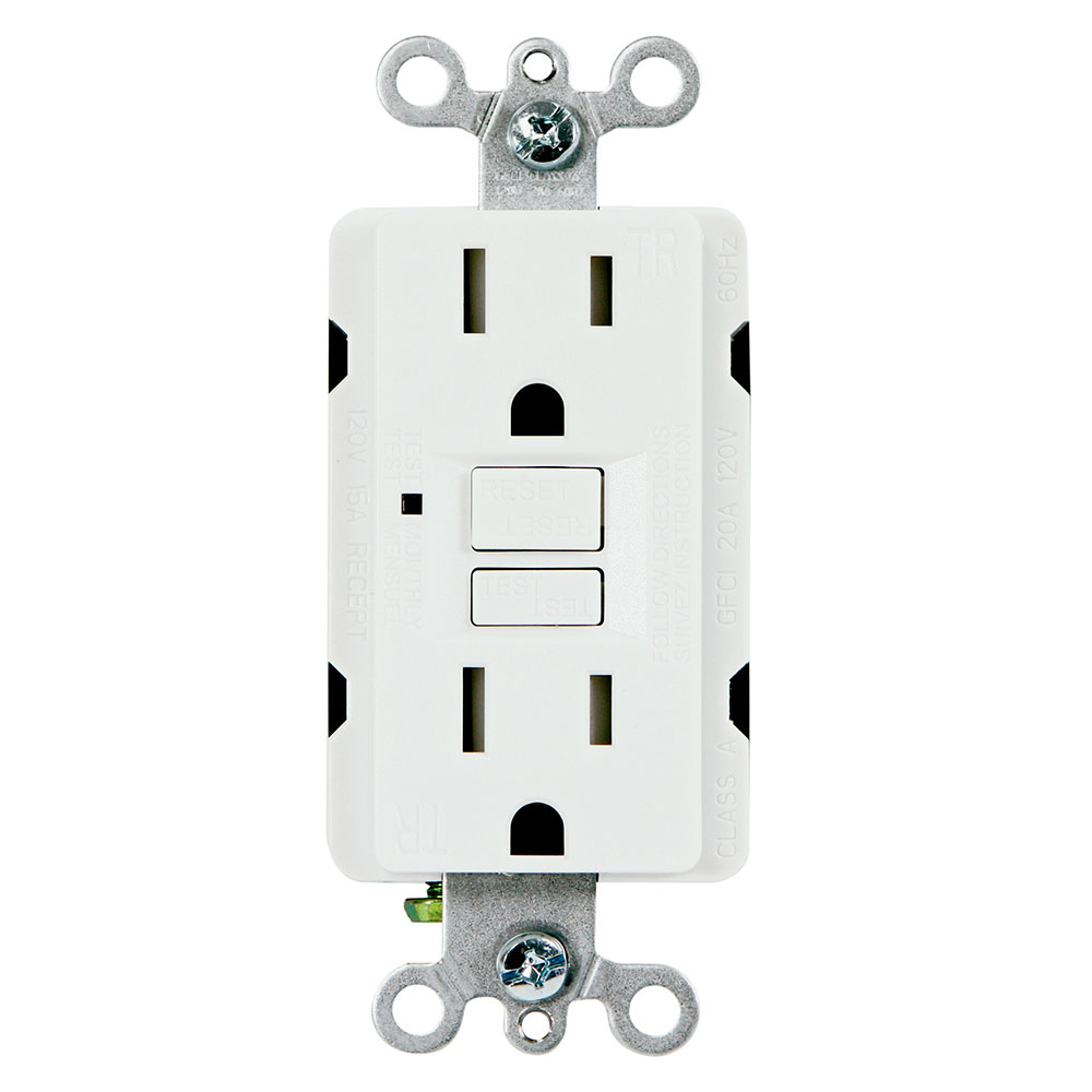 USI Electric G1315TRWH 15 Amp GFCI Receptacle Duplex Outlet Protection, White