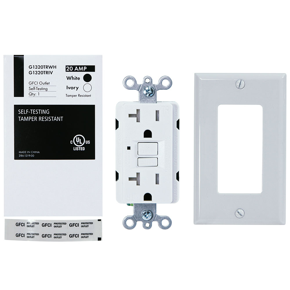 USI Electric G1320TRWH 20 Amp GFCI Receptacle Duplex Outlet Protection, White