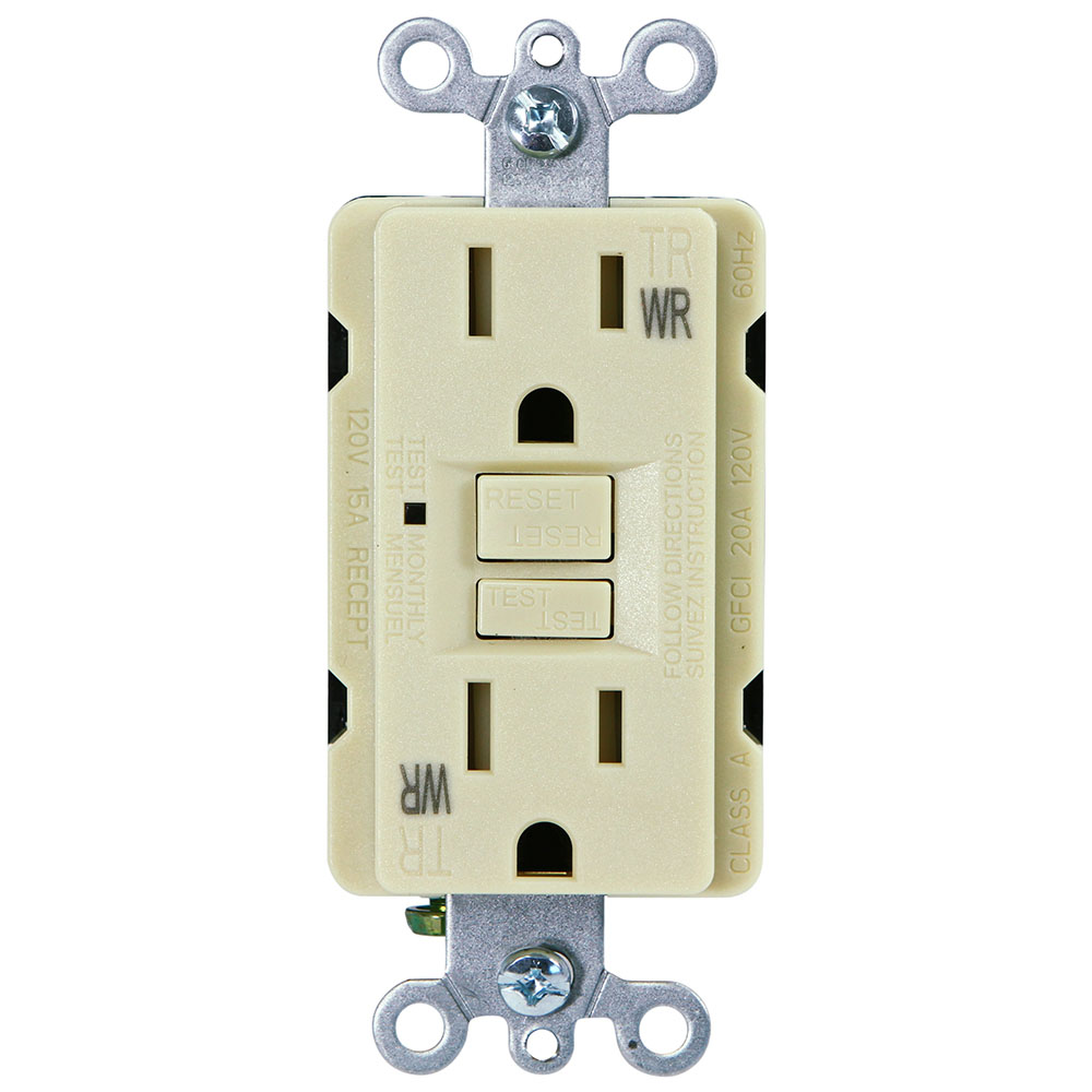 USI Electric G1415TWRIV 15 Amp GFCI Weather Resistant Outdoor Receptacle Duplex Outlet Protection, Ivory