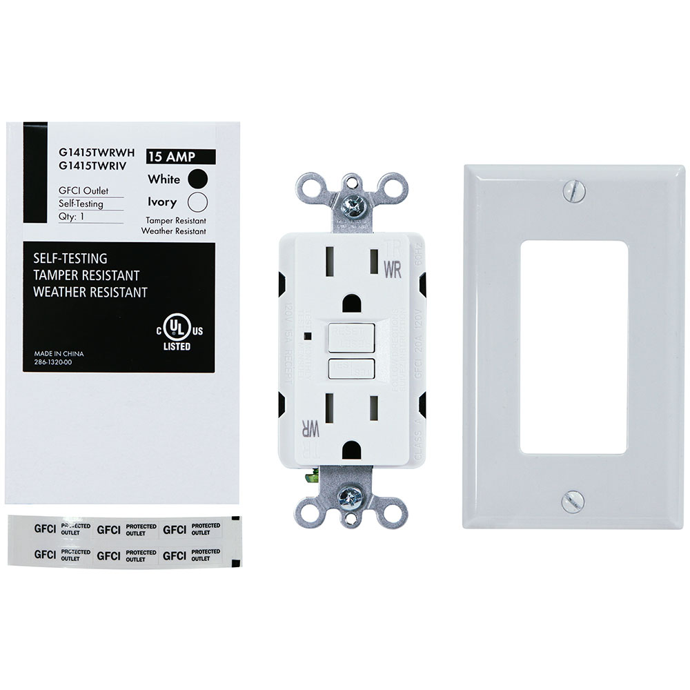 USI Electric G1415TWRWH 15 Amp GFCI Weather Resistant Outdoor Receptacle Duplex Outlet Protection, White