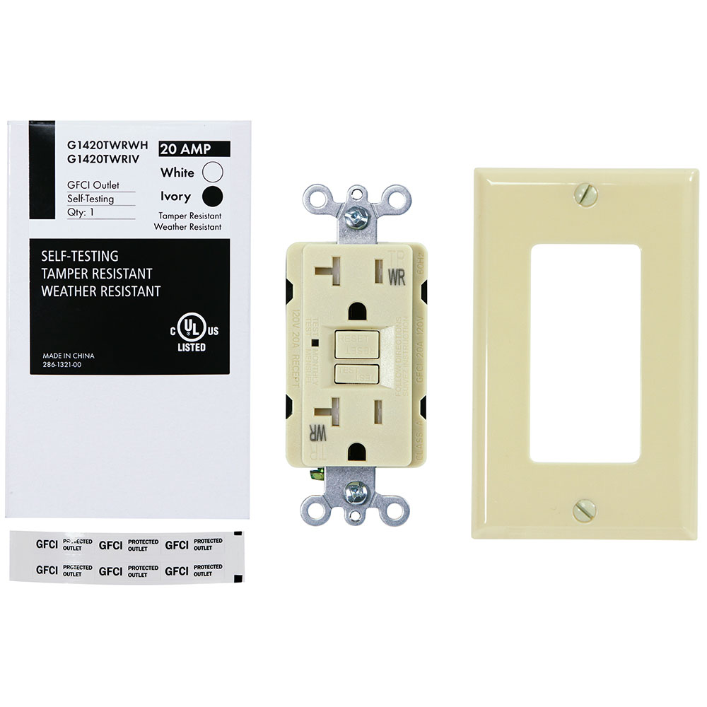 USI Electric G1420TWRIV 20 Amp GFCI Weather Resistant Outdoor Receptacle Duplex Outlet Protection, Ivory