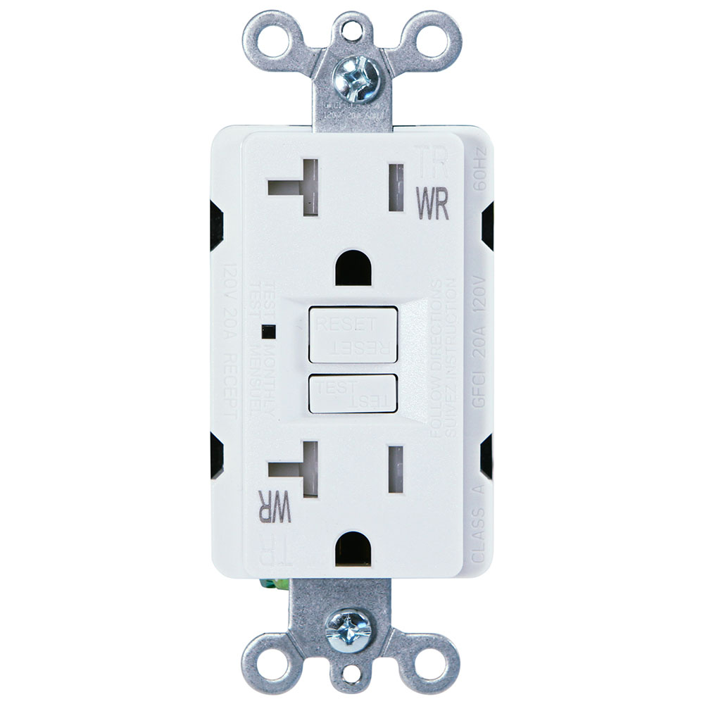 USI Electric G1420TWRWH 20 Amp GFCI Weather Resistant Outdoor Receptacle Duplex Outlet Protection, White