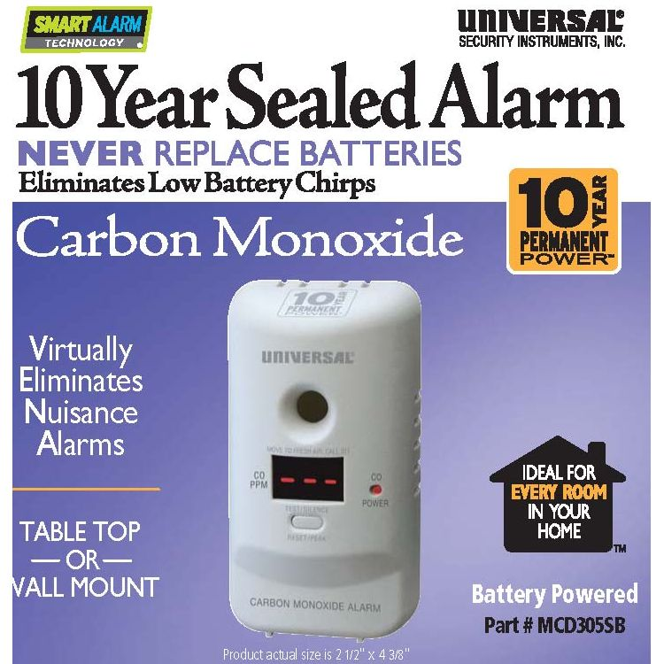 Universal Security Instruments MCD305SB Carbon Monoxide Smart Alarm with 10 Year Sealed Battery and Display Screen