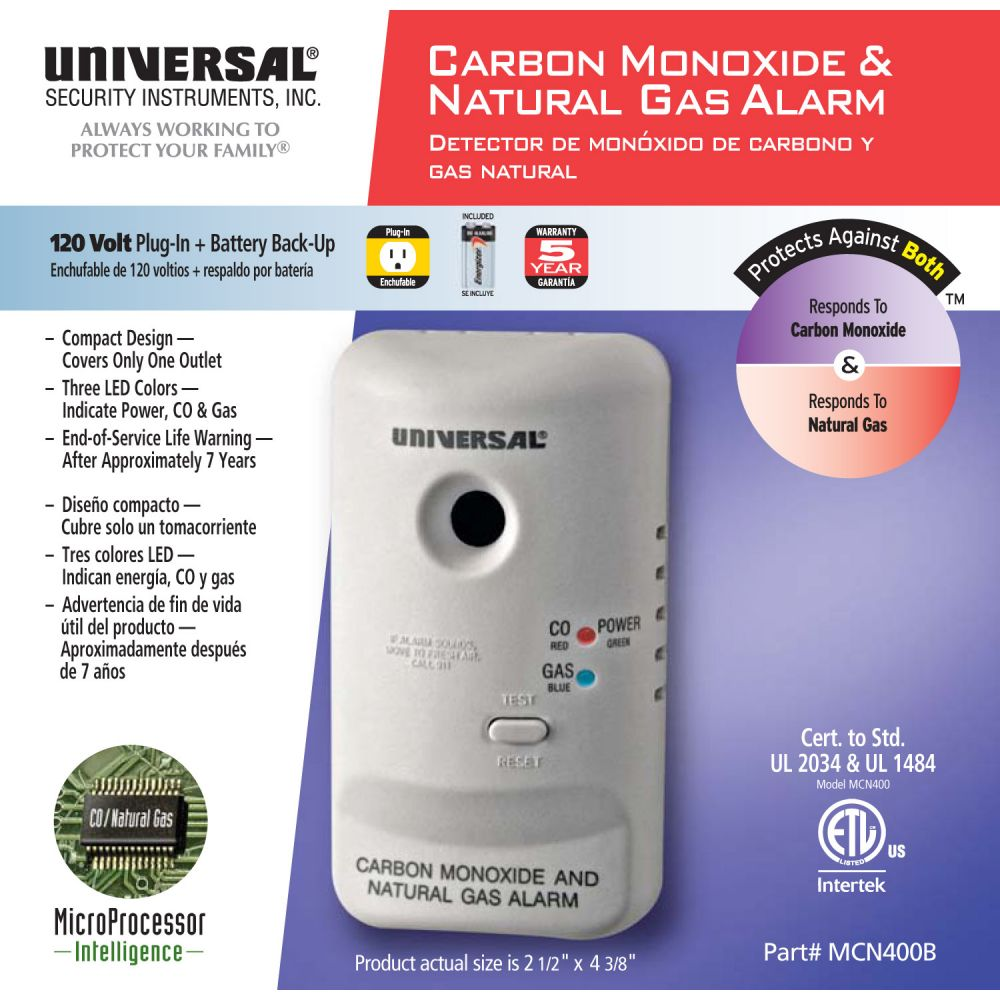 Universal Security Instruments MCN400 Plug-In 2-in-1 Carbon Monoxide and Natural Gas Smart Alarm with Battery Backup