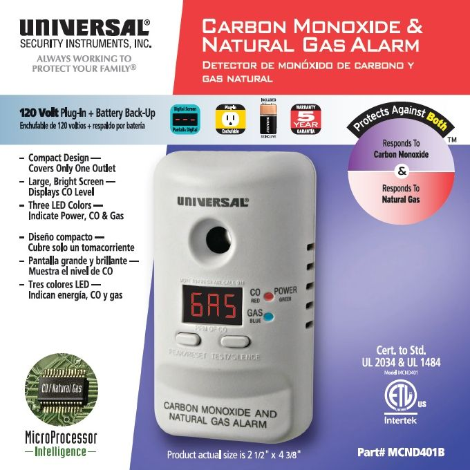 Universal Security Instruments MCND401CN Plug-In 2-in-1 Carbon Monoxide and Natural Gas Smart Alarm with Battery Backup--Canada