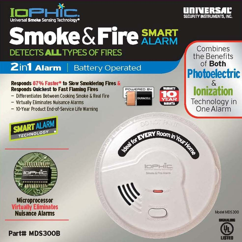 Universal Security Instruments MDS300CN Universal Smoke Sensing Technology (IoPhic) Battery-Operated Smoke and Fire Alarm