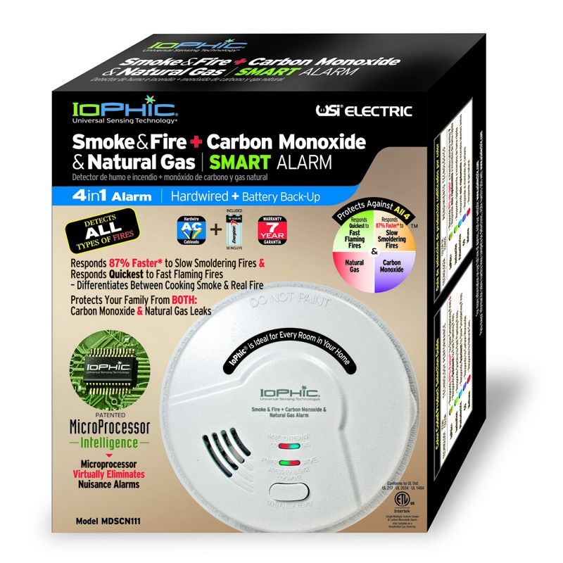 USI Electric MDSCN111 4-in-1 Universal Smoke Sensing Technology (IoPhic) Hardwired Smart Alarm