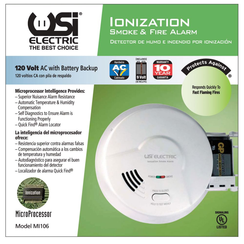 USI Electric MI106 Hardwired Ionization Smoke and Fire Alarm with Battery Backup