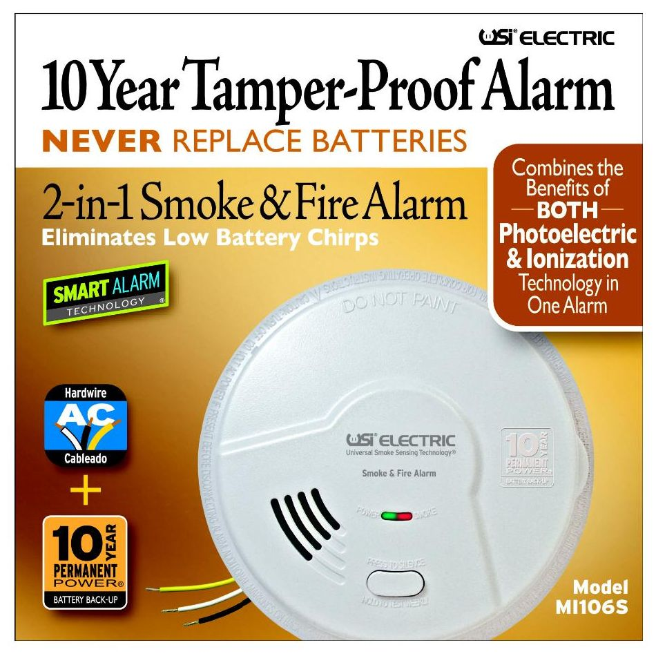 USI Electric MI106S Hardwired 2-in 1 Smoke and Fire Alarm with 10 Year Sealed Battery Backup
