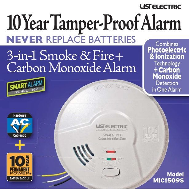 Universal Security Instruments MIC1509S Hardwired 3-in-1 Smoke, Fire and Carbon Monoxide Smart Alarm with 10 Year Sealed Battery