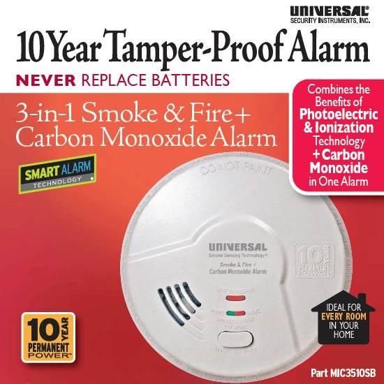 Universal Security Instruments MIC3510SB 3-in-1 Smoke, Fire and Carbon Monoxide Smart Alarm with 10 Year Sealed Battery