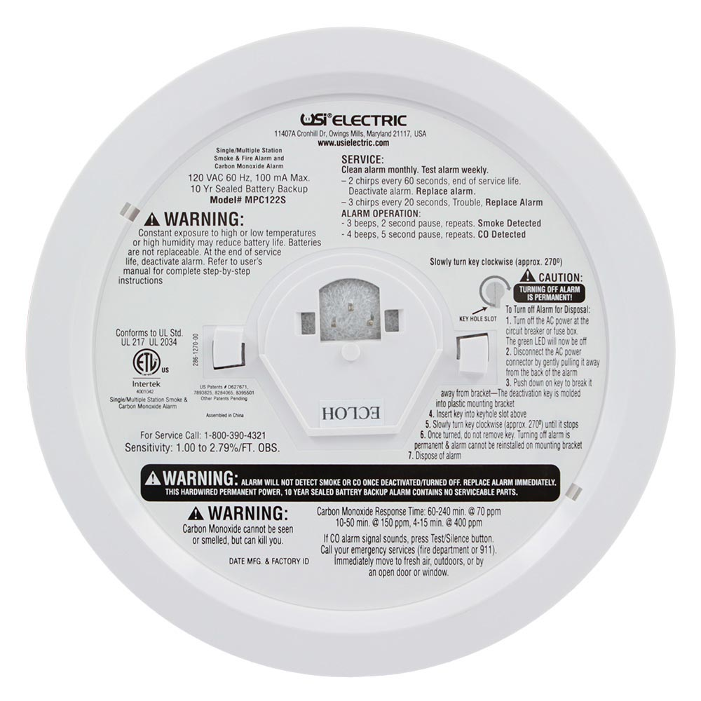 Universal Security Instruments MPC122S Hardwired 2-in-1 Photoelectric Smoke & Carbon Monoxide Alarm