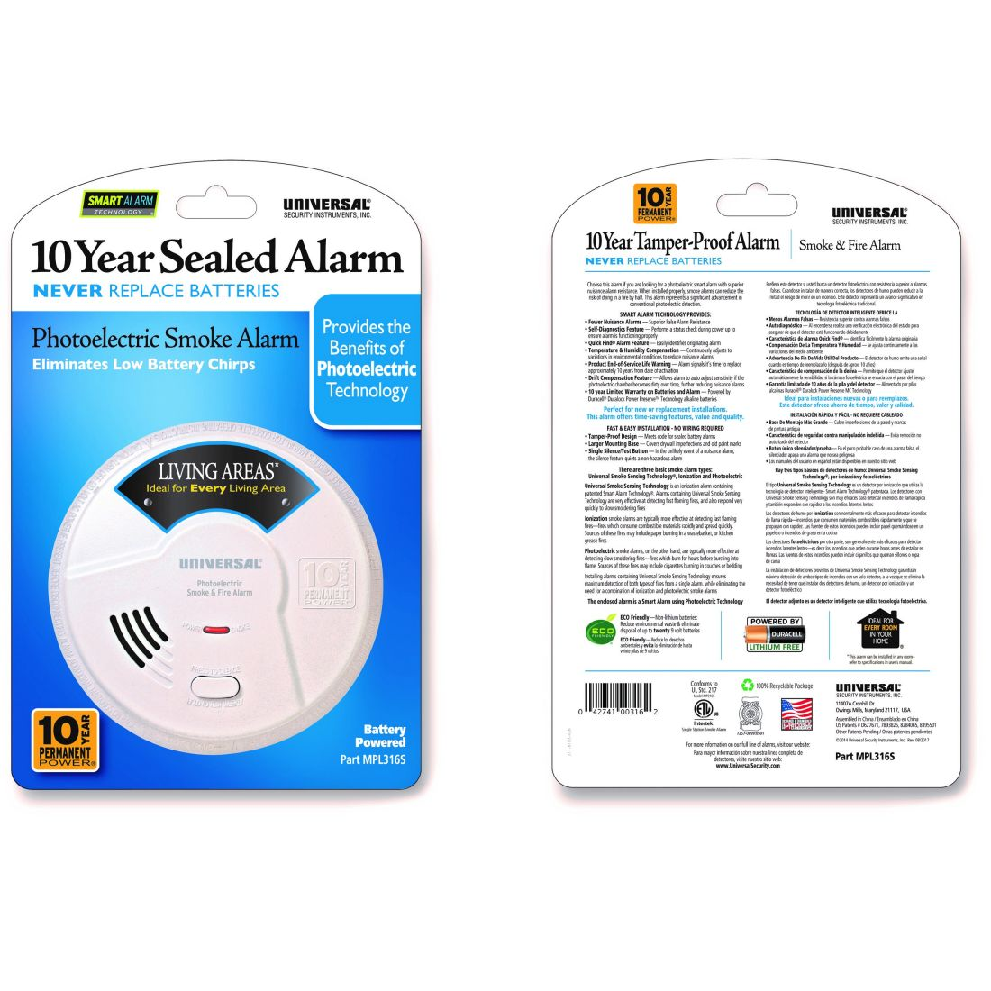 Universal Security Instruments MPL316S Photoelectric 10 Year Living Area Smoke & Fire Alarm