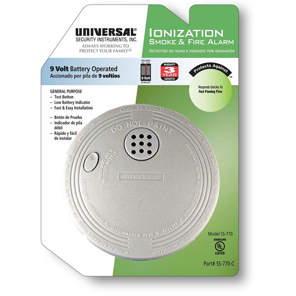 Universal Security Instruments SS‑770‑C Battery Operated Ionization Smoke and Fire Alarm