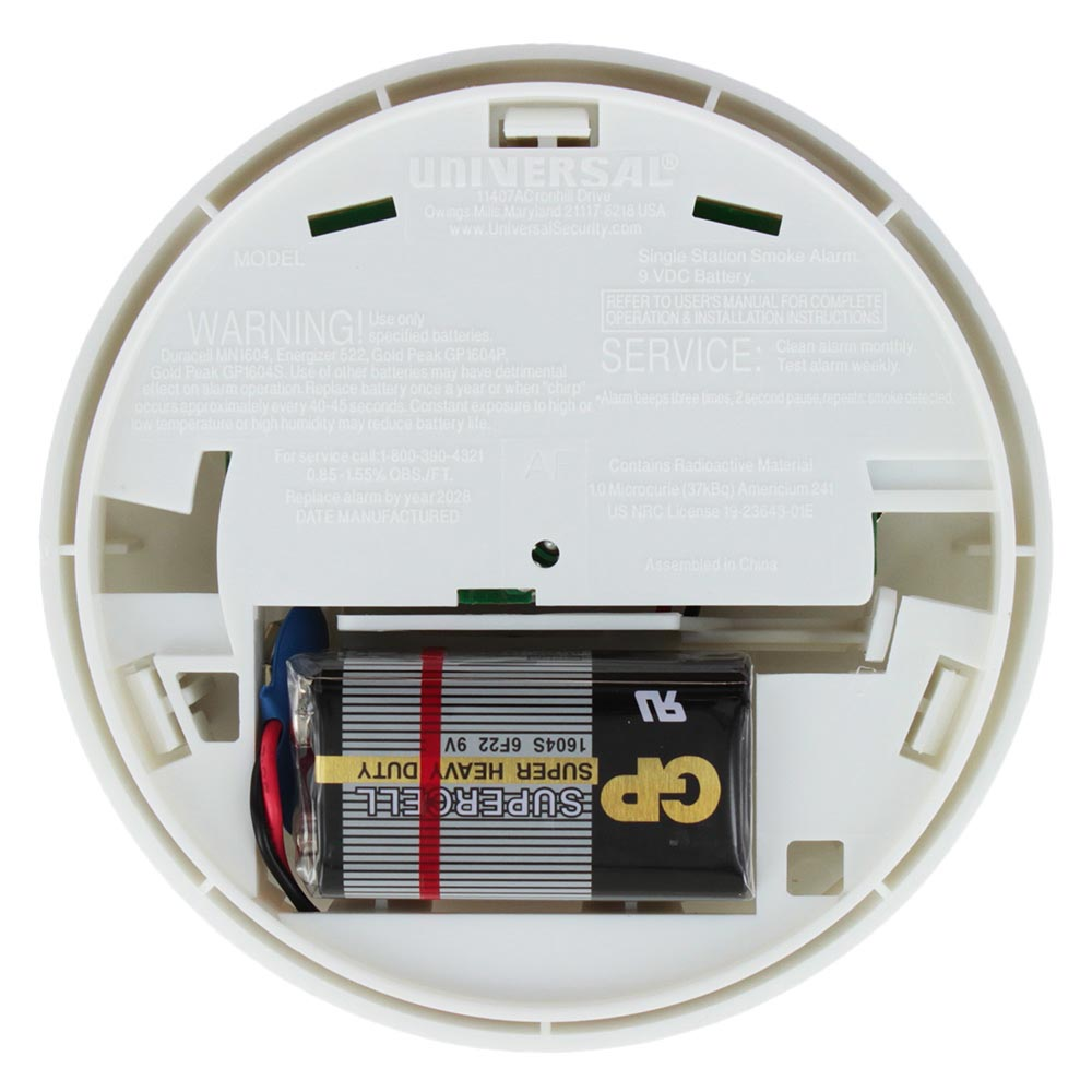 Universal Security Instruments SS‑901‑2C/3CC Battery Operated Photoelectric Smoke and Fire Alarm