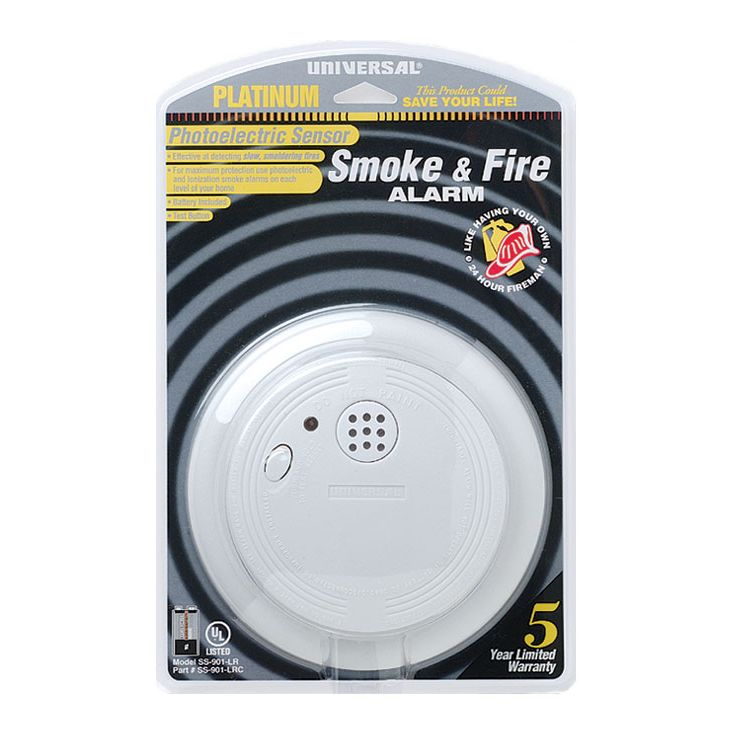 Universal Security Instruments SS‑901‑LRC Battery Operated Photoelectric Smoke and Fire Alarm
