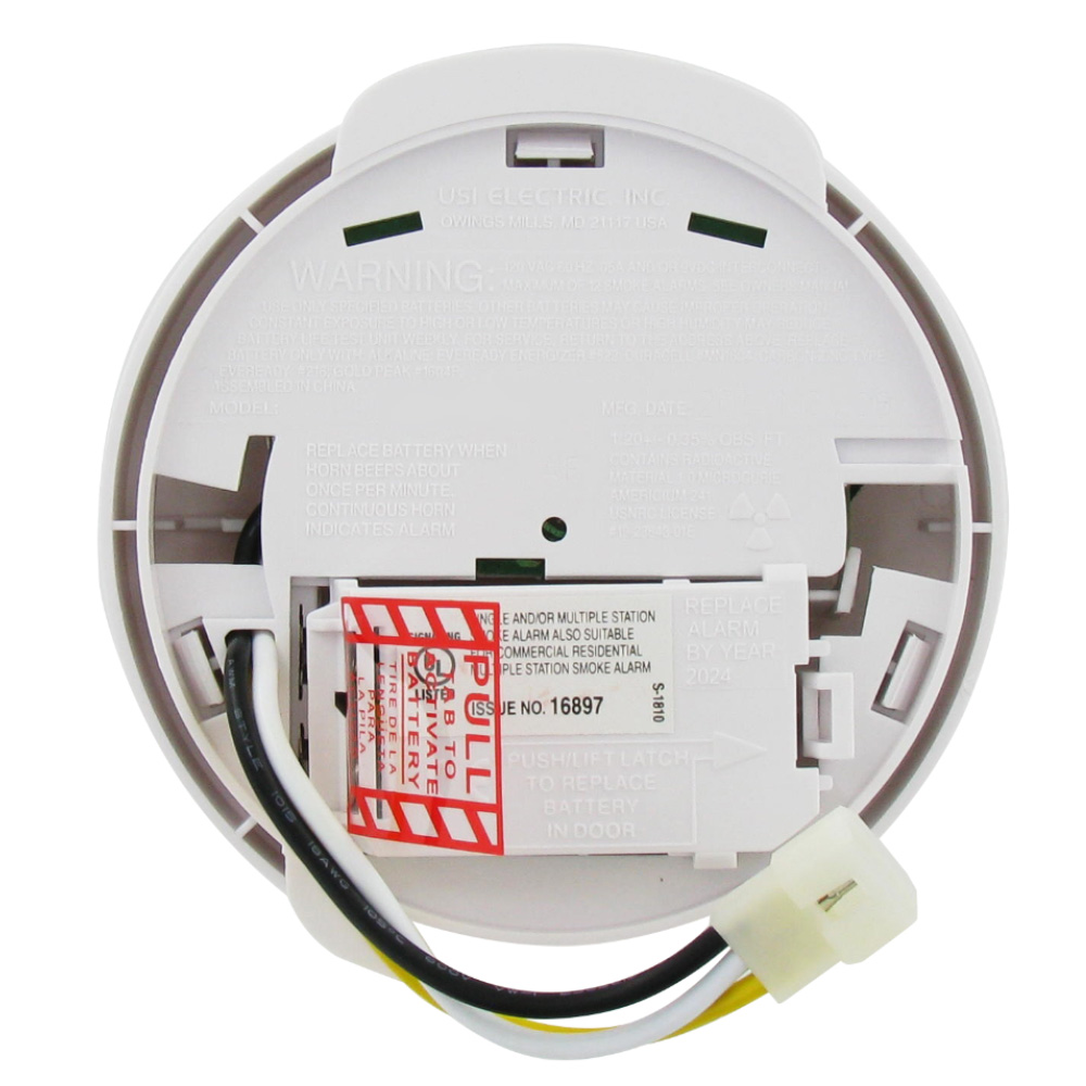 Universal Security Instruments Usi 1204 Hardwired Ionization Smoke House Electrical Wiring On In The Home Two Electric And Fire Alarm With Backup Battery